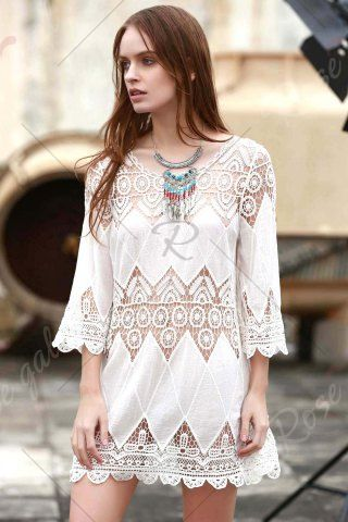 Stylish Round Neck 3/4 Sleeve Openwork Appliqued Women's White Cover-Up