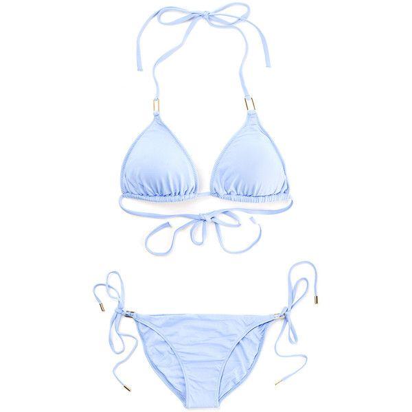 Melissa Odabash Lavender Blue Cancun Bikini ($305) ❤ liked on Polyvore featuring swimwear, bikinis, bikini swim wear, bikini swimwear, lavender bikini, bikini two piece and blue bikini