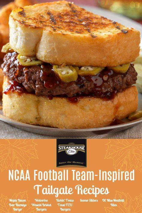 Tailgate recipes inspired by NCAA Football Teams: Maple Bacon Beer Buckeye Burgers, Wolverine Wasabi Brisket Burgers, Kickin' Texas Toast TCU Burgers, Sooner Sliders, Ol'Miss Meatball Bits
