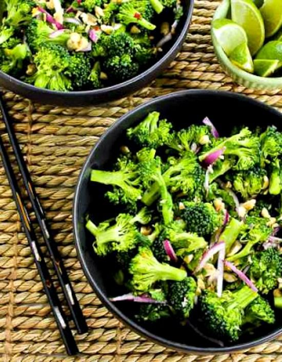 Easy Thai-Flavored Raw Broccoli Salad with Red Onion, Mint, and Peanuts found on KalynsKitchen.com