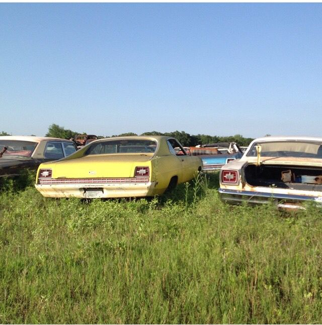 Two Fords From The '60s At A Salvage Yard In Sunset, TX. A