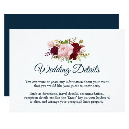 #Marsala Floral - Marine Blue Wedding Details Card - #weddinginvitations # wedding #invitations #party #card #cards #invitation #elegant