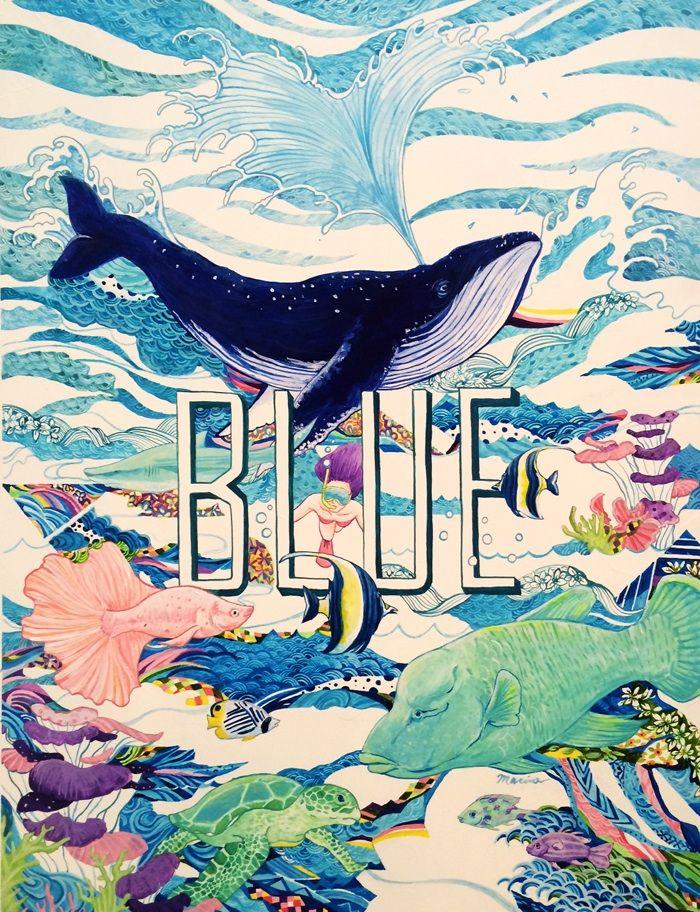 イラストレーター真吏奈『BLUE 』 #イラスト #アクリル絵の具 #アート #魚