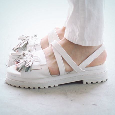 white chunky sole sandals...