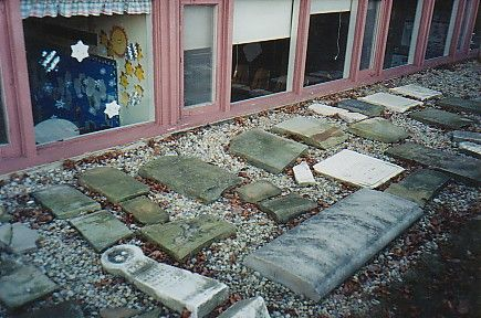 stones in the ground by the preschool windows Saint John's Episcopal Cemetery Worthington, Ohio