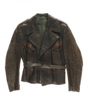 vintage STRIWA German leather motorcycle jacket 40/50s