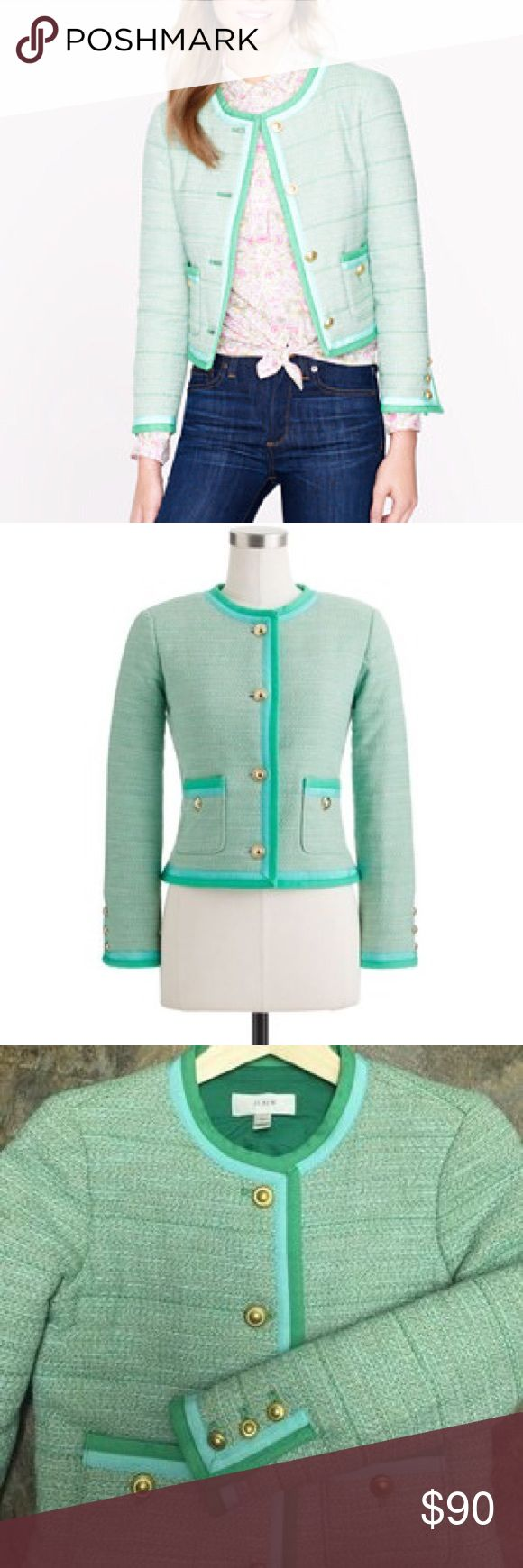 J.Crew tweed mint jacket!! NWT!!! Brand new mint jacket from J.Crew! Comes with extra buttons. J. Crew Jackets & Coats Blazers