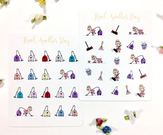 MISU Cleaning Chores Vacuuming Planner Stickers by KnotAnotherDay #plannersticker #cleaning #vacuum #cute