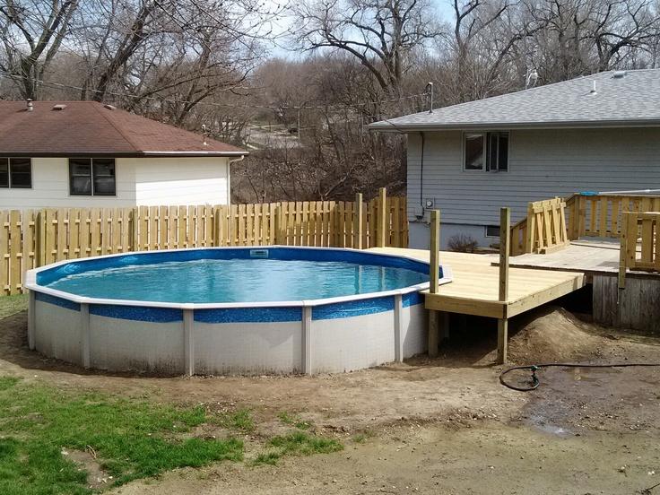 21' pool deck off of existing deck Pool patio, Pool