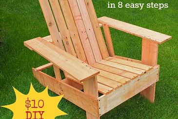 How to build your own adirondack chairs for about $10 each.  Power tools not required.  Full steps at http://www.thissortaoldlife.com/2012/07/07/adirondack-chairs-anyone-can-build/