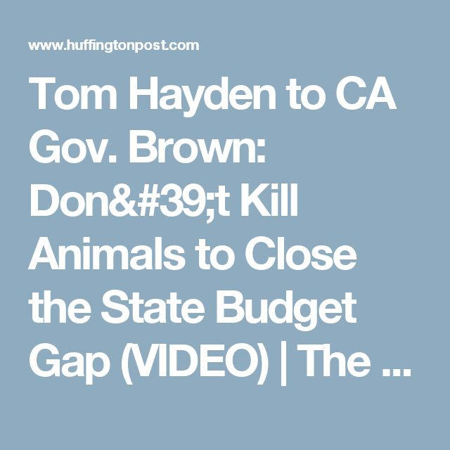 Tom Hayden to CA Gov. Brown: Don't Kill Animals to Close the State Budget Gap (VIDEO) | The Huffington Post