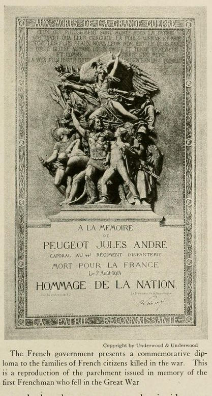 "WWI. ""The French government presents a commemorative diploma to the families of French citizens killed in the war. This is a reproduction of the parchment issued in memory of the first Frenchman who fell in the Great War."" The nations at war, published 1917. -Archive.org"