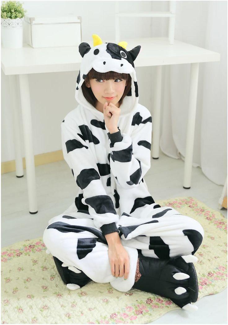 Flannel family animal pajamas one piece onsies onesies cosplay cow vaca vache mucca pigiama pyjama pijamas enteros de animales