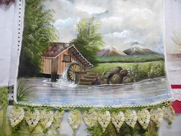 "Pano de Prato com bicos de tecido e macrame, pinturas de paisagens, frutas e natureza morta R$20,00   "" Janda Beleza e Arte"""