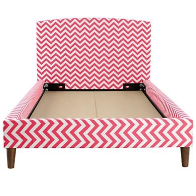 Love these chevron beds from Land of Nod. Comes in pink/white, gray/white, black/white, lime green/white. So stylish! I would LOVE to get Harper one of these