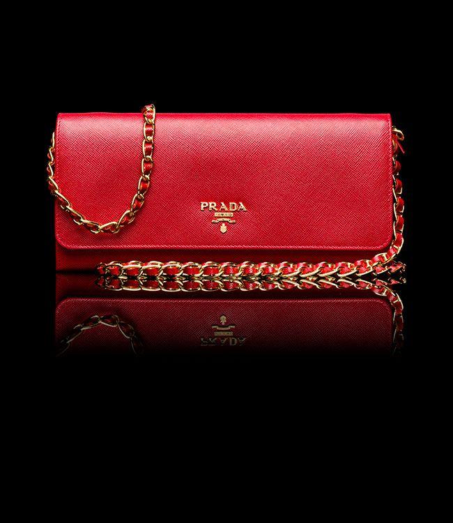 Prada - Saffiano Metallic Gold Flap Wallet in Red | My Wishlist ...