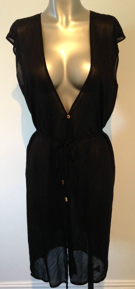 New Black Beach Dress UK 10 Swimwear Cover Up Sheer Dress Sexy low open front