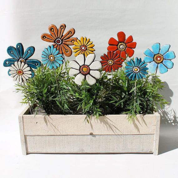 Flower sculpture -  home decor - garden sculpture - ceramic and metal - garden art - plant stake - daisy turquoise small. €15.00, via Etsy.: