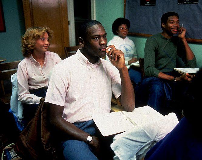 North Carolina's Michael Jordan and Sam Perkins in class: Michael Jordan Went To North Carolina Because UCLA And Virginia Were Lazy