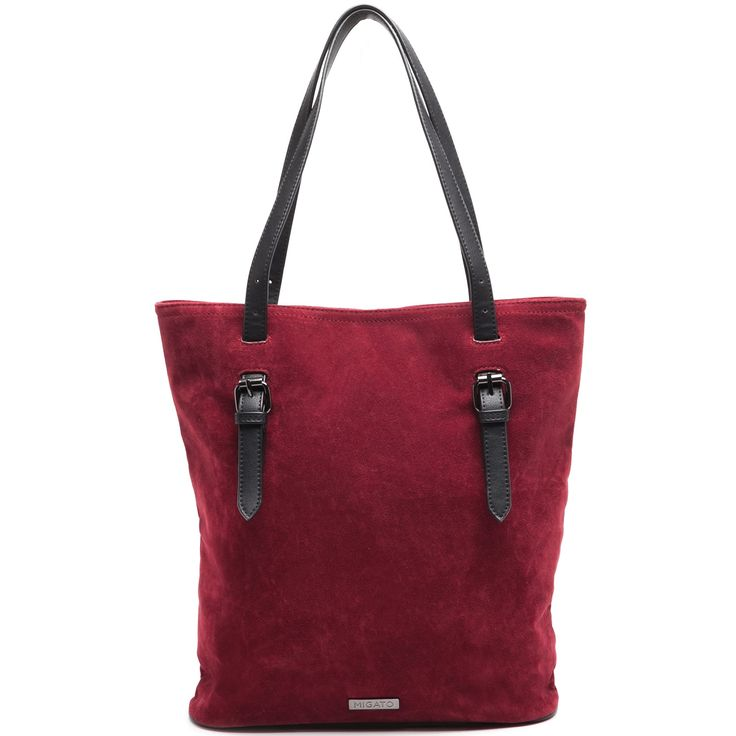Dark red suede shopper bag