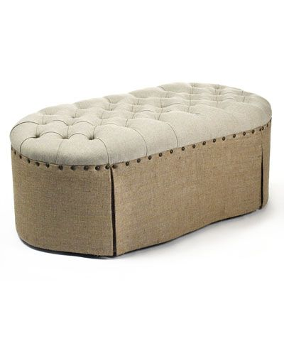 Tufted Ottoman - Introduce the unexpected yet traditional into a longer room with the Tufted Ottoman, a distinctive but versatile upholstered piece with an oblong shape that helps a room feel smooth and stately, yet warmly inviting. The skirted ottoman, which is finished with large nailhead trim and deep button-tufting, is an uptown alternative to the harder lines of a coffee table or bench.