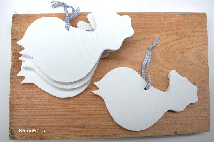 """(Op) de maalzolder """"houten vogel"""" hanger katoo&zoo"""