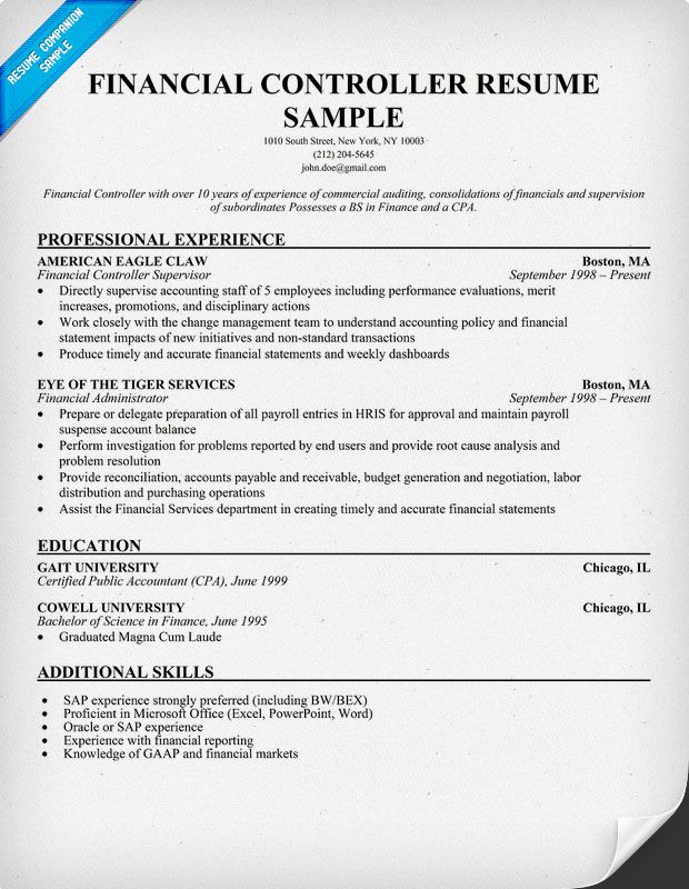 Financial Controller Resume Education Amp Career Sample