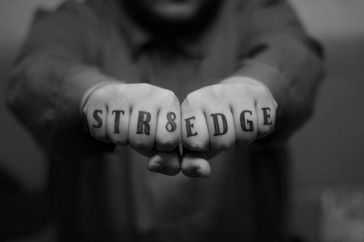 Straight Edge knuckle tattoo