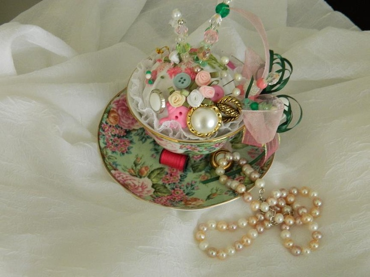 Handmade Decorative Vintage Inspired Tea Cup Pincushion - Decoration - Jewelry Holder. $24,95, via Etsy.