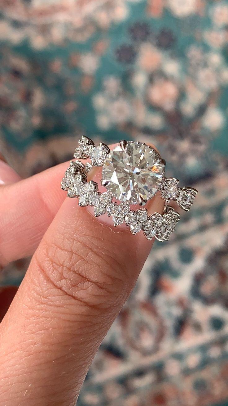 Glamorous Vintage Inspired Engagement Ring & Wedding Band- Caterina & Ava