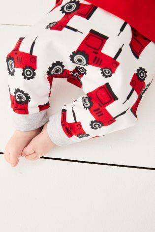 Red/White Tractor Three Piece Set (0mths-2yrs)