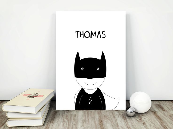 Personalized nursery print poster, wall art decor, boys room, I am batman, superhero, black and white, birthday, simple design, graf poster by GrafPoster on Etsy