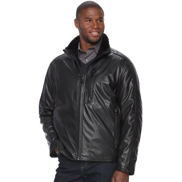 Men's AM Studio by Andrew Marc Faux-Leather Jacket (1.715.855 IDR) ❤ liked on Polyvore featuring men's fashion, men's clothing, men's outerwear, men's jackets, black, andrew marc mens jacket, mens fake leather jacket, mens faux leather jacket and mens jackets