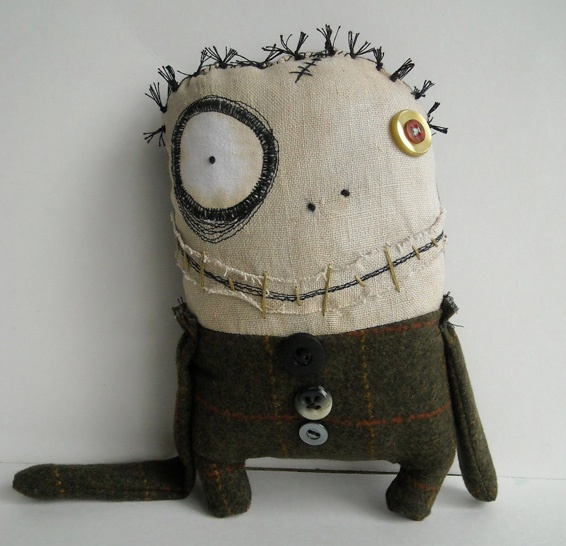 Wayne would love this and Claire too.   Image detail for -Junker Jane sewn monster-like doll with a big googly eye