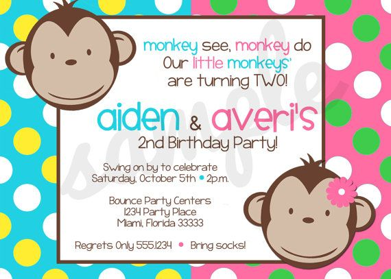Mod Monkey Boy & Girl Twins Birthday Invitation by ShesTutuCuteBtq, $11.75