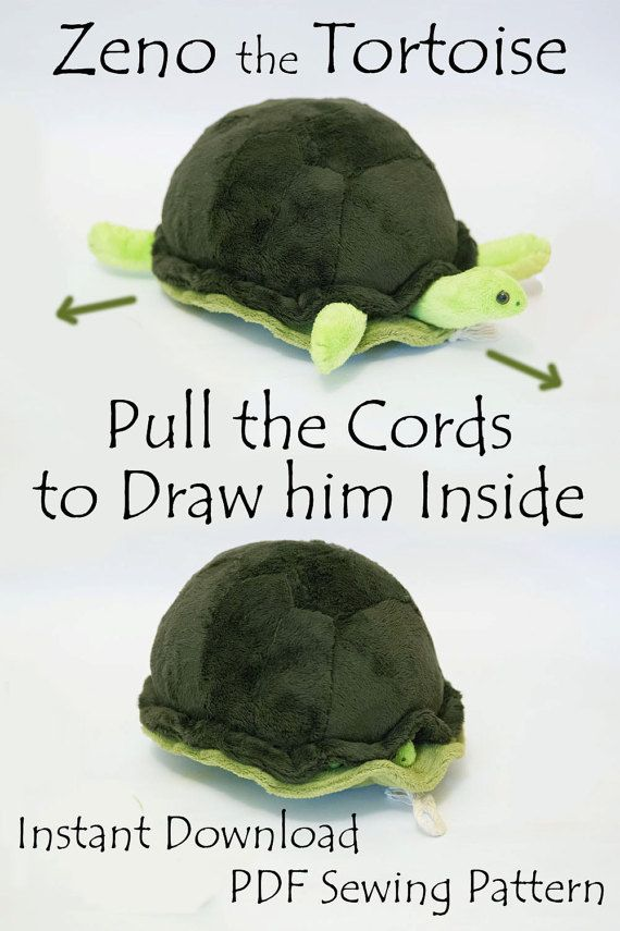 Turtle Softie PDF Sewing Pattern- Interactive Softie that goes In and Out // Zeno the TortoiseMikki Grimley