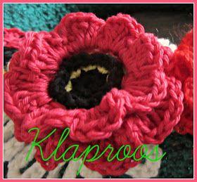 Dinah Creatief: Veld bloemen Krans diy. Deel 7: De Klaproos, #haken, gratis patroon, bloem, haarclip, haarband, accessoire