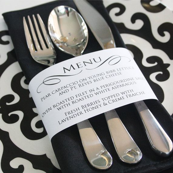 Printable Personalized Menu Wrap by printyourparty on Etsy