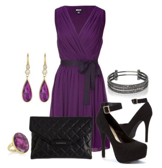 Purple Pleated Dress for Valentine's Day