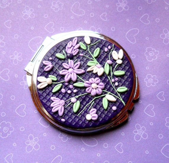 Polymer Clay Applique   Polymer Clay Embroidery/Applique Round Pocket Mirror by NKDesigns, $27 ...