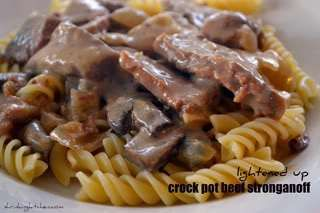 A traditional beef stroganoff made easy and light. Throw it in the slow cooker in the morning and come home to a hearty, family pleasing dinner!