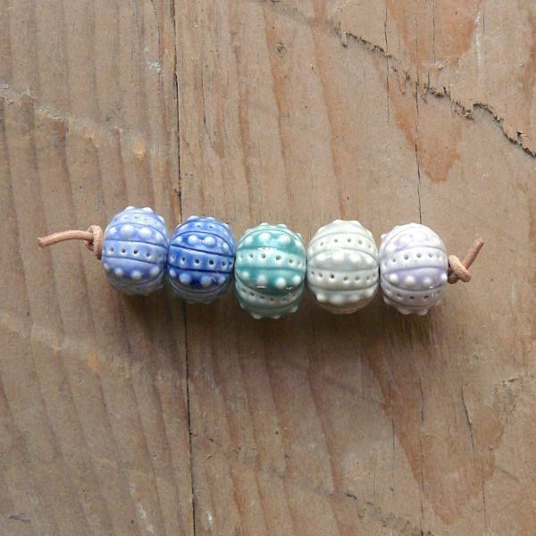 Porcelain urchin beads by blueberribeads