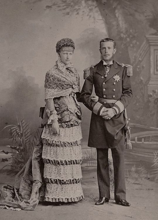 Newlyweds Crownprince Rudolf of Austria and spouse, Crownprincess Stephanie, neé Princess of Belgium. 1880s,