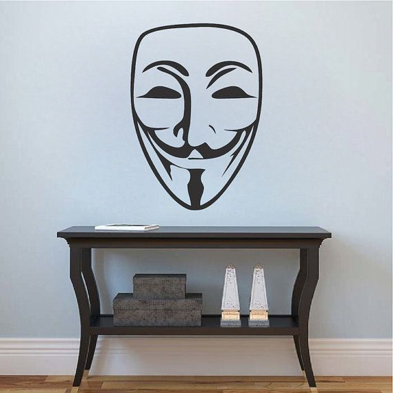 guy fawkes mask decal sticker v for vendetta mask wall decal anonymous mask wall vinyl removable guy fawkes mask wall decal vinyl g62 - Wall Vinyl Designs