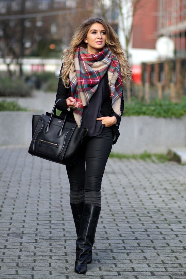 ❤️❤️ Beautiful fall outfit black long boots scarf handbag jacket women fashion style street apparel: