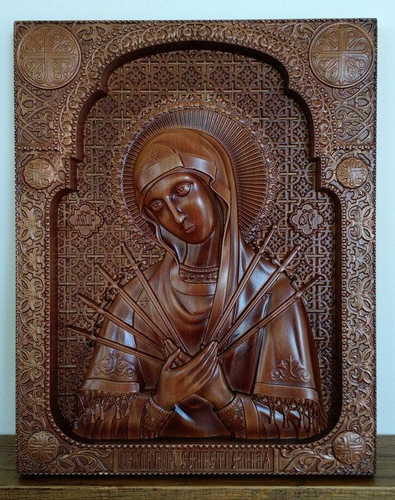 ORTHODOX CHURCH ICON Mother of God Semistrelnayawood carving
