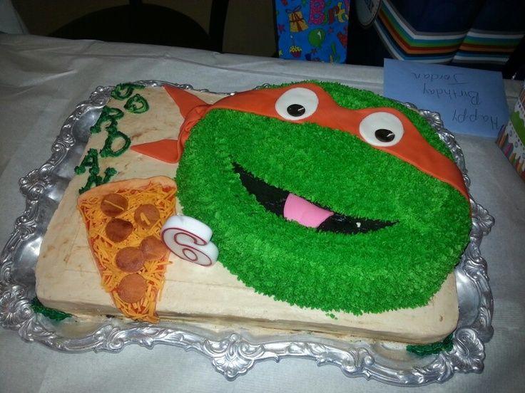 Ninja Turtle Birthday Cake | Elmo cake pan turned Ninja Turtle birthday cake | Kids Birthday Ideas