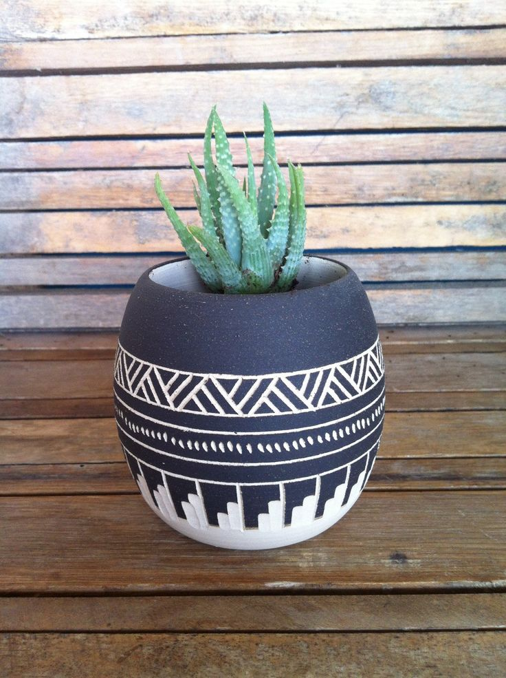 Made To Order Ceramic planter pottery Navajo inspiration Carved sgraffito Vase…