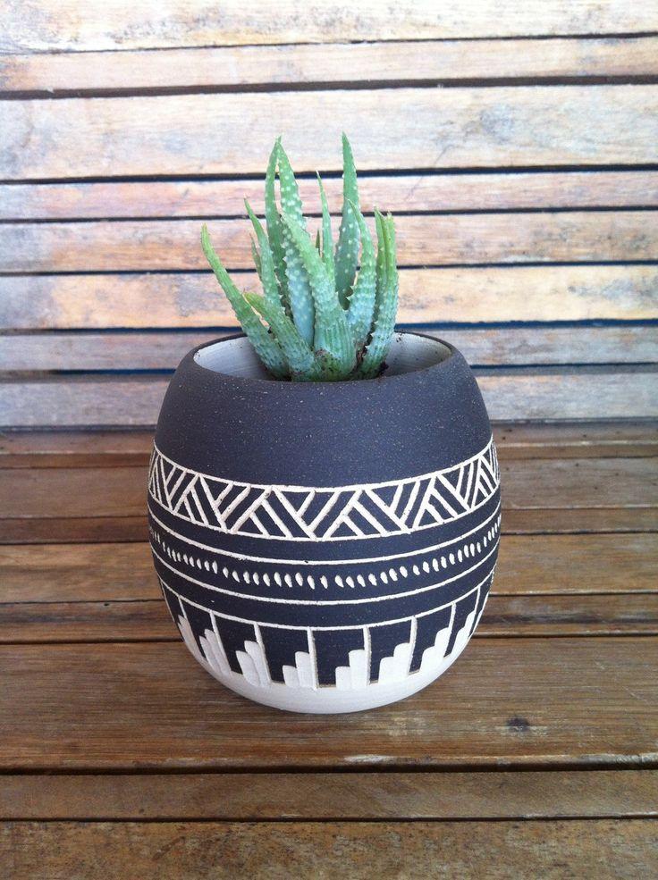 Made To Order Ceramic planter pottery Navajo inspiration Carved sgraffito Vase…