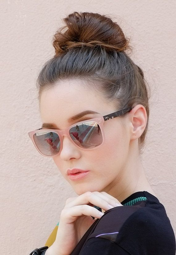 Handmade Crystal Pink Sunglasses Contrast with by TrichromeEyewear
